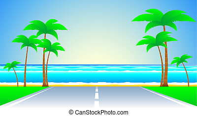 road and a tropical landscape
