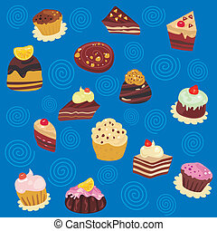 Seamless Desserts Pattern - Seamless pattern with various...