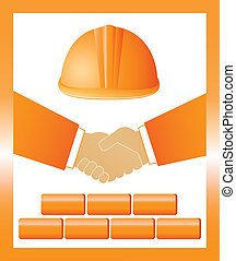 sign with helmet, handshake and bri - red construction sign...