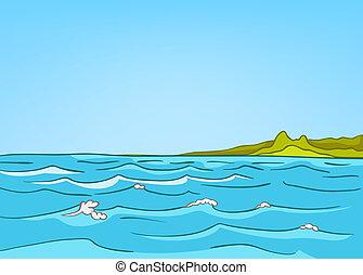 Cartoon Nature Landscape Sea