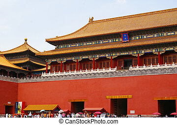 Meridian Gate of the forbidden city in Beijing,China