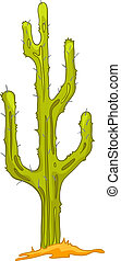 Cartoon Nature Plant Cactus Isolated on White Background...