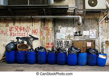 Dirty street in Hong Kong - HONG KONG - MAY 13, A dirty...