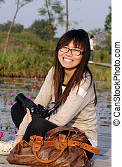 Asian woman travel outdoor