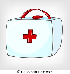 Cartoon Home Medical Kit Isolated on White Background Vector...