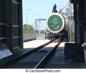 terminal biodiesel load - tankers of freight train near...