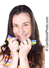 smiling girl with colored face showing colour chalks