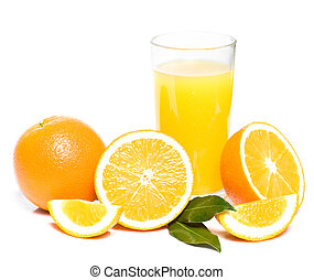 orange with glass of juice
