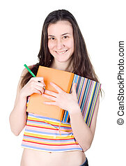 tricky smiling girl hiding notes