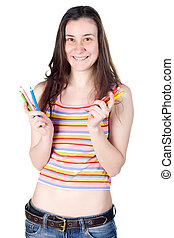 young smiling girl holding colour pencils
