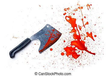 isolated grunge knife with a splatter of red blood stains