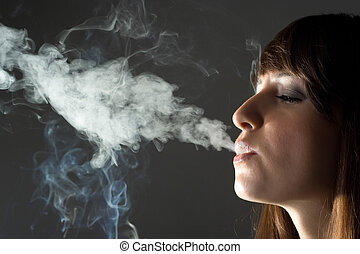 backlight image of smoking girl