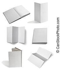 leaflet notebook textbook white blank paper template -...