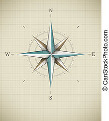 Antique wind rose symbol for navigation. Vector illustration...