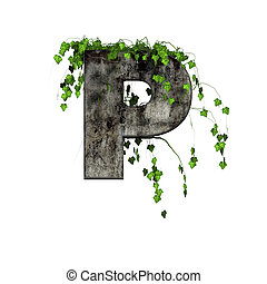 green ivy on 3d stone letter - p