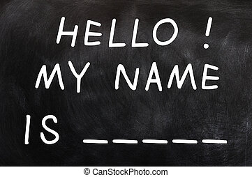 Self Introduction with a blank of my name written on a...