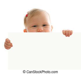 赤ん坊, わずかしか, 板, 白, の後ろ