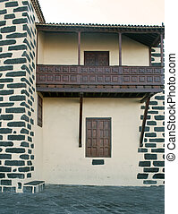 Canarian balcony in front of a house