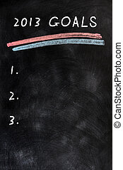 2013 Goals with a blank list written on a blackboard