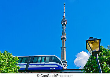 Monorail train and TV tower Ostankino in Moscow, Russia,...