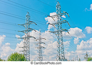 Power line towers in Moscow, Russia, East Europe