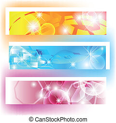 Colorful banners with shapes and shining