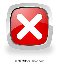 cancel icon - glossy red square icon with shadow on white...