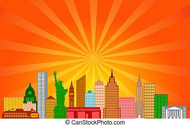 New York City Skyline Panorama Color Silhouette with Sun...