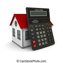 Calculator leaned on a little house with red roof. 3d...