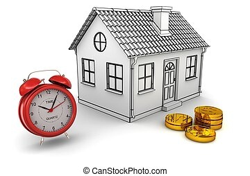 Model home, red alarm clock, stack of gold dollar coins. 3d...