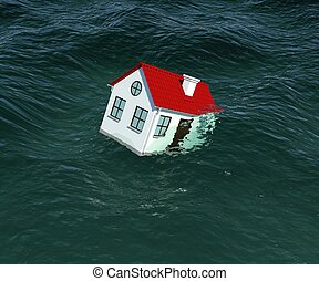 House with red roof sinks in water 3d rendering