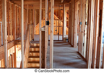 Unfinished Home Framing Interior - Framed building or...