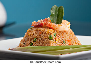 Shrimp Fried Rice Thai Dish - A Thai dish of shrimp fried...