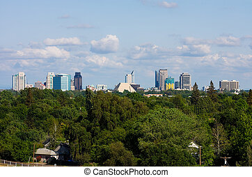 Sacramento California - Cloudy sky over Sacramento skyline