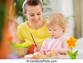 mamá, Porción, bebé, Pintura, Pascua,...