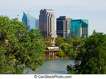 Sacramento California - Sacramento skyscrapers next to a...