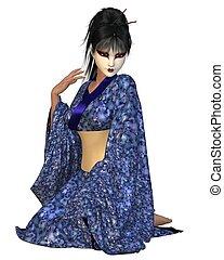 Kneeling Geisha in Blue Kimono