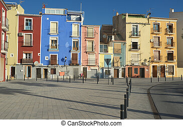 Mediterranean architecture - Traditional colorful facades on...