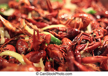 Steamed crawdads ready to eat.