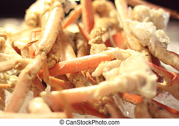 Delicious snow crab legs ready to eat.