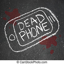 Dead Phone Chalk Outline Pavement Damaged Discarded - A...