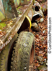 Abandoned truck and car