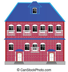 Big two-story mansion - Illustration of the big brick...