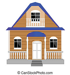 Small house on white background - Illustration of the small...