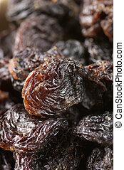 Raisins close-up - Close-up of dark raisins (currant).
