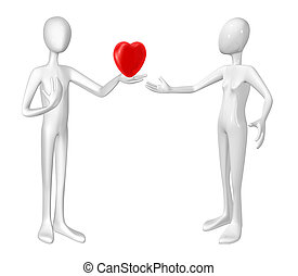 Man with heart and women isolated on white background.