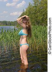 the beautiful girl in water