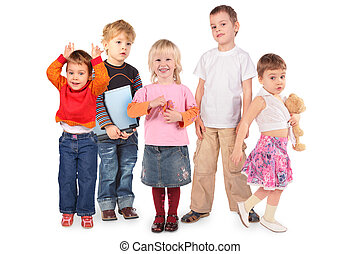 five children on white collage