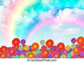 flores, arco íris, nuvem, céu, colagem