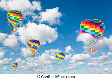 hot air balloons on White, fluffy clouds in blue sky collage